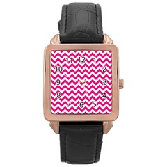 Hot Pink And White Zigzag Rose Gold Leather Watch
