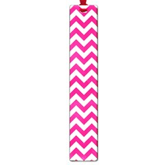 Hot Pink And White Zigzag Large Bookmark