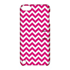 Hot Pink And White Zigzag Apple iPod Touch 5 Hardshell Case with Stand