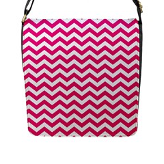 Hot Pink And White Zigzag Flap Closure Messenger Bag (Large)