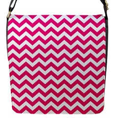 Hot Pink And White Zigzag Flap Closure Messenger Bag (small)