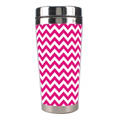 Hot Pink And White Zigzag Stainless Steel Travel Tumbler