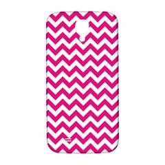 Hot Pink And White Zigzag Samsung Galaxy S4 I9500/I9505  Hardshell Back Case