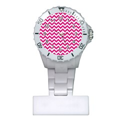 Hot Pink And White Zigzag Nurses Watch
