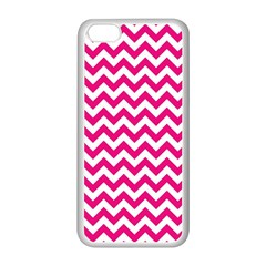 Hot Pink And White Zigzag Apple iPhone 5C Seamless Case (White)