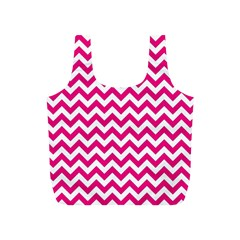 Hot Pink And White Zigzag Reusable Bag (S)