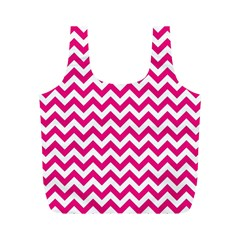 Hot Pink And White Zigzag Reusable Bag (M)