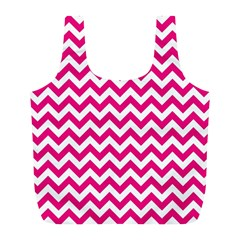 Hot Pink And White Zigzag Reusable Bag (l)