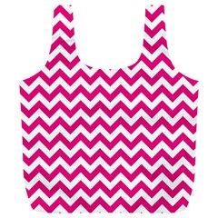 Hot Pink And White Zigzag Reusable Bag (XL)