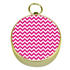Hot Pink And White Zigzag Gold Compass