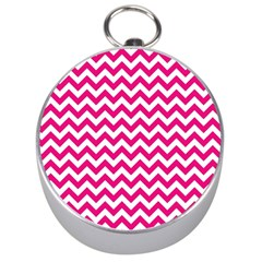 Hot Pink And White Zigzag Silver Compass