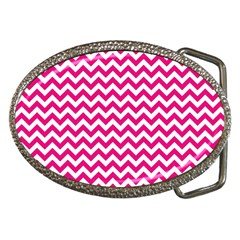 Hot Pink And White Zigzag Belt Buckle (Oval)