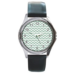 Jade Green And White Zigzag Round Leather Watch (silver Rim)