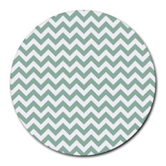 Jade Green And White Zigzag 8  Mouse Pad (round)