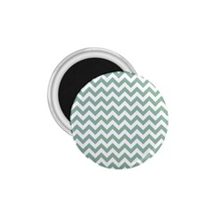 Jade Green And White Zigzag 1.75  Button Magnet