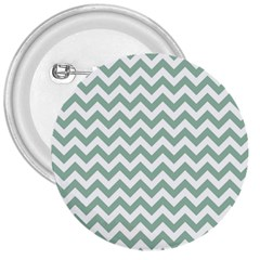 Jade Green And White Zigzag 3  Button
