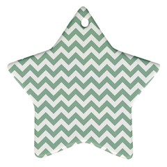 Jade Green And White Zigzag Star Ornament