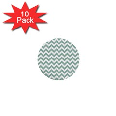 Jade Green And White Zigzag 1  Mini Button (10 pack)
