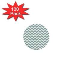 Jade Green And White Zigzag 1  Mini Button (100 pack)