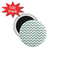 Jade Green And White Zigzag 1.75  Button Magnet (100 pack)