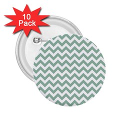 Jade Green And White Zigzag 2.25  Button (10 pack)