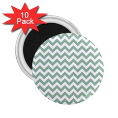Jade Green And White Zigzag 2.25  Button Magnet (10 pack)