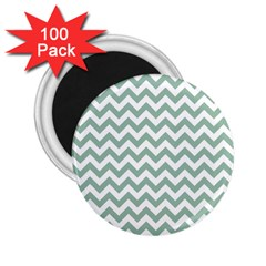 Jade Green And White Zigzag 2 25  Button Magnet (100 Pack)