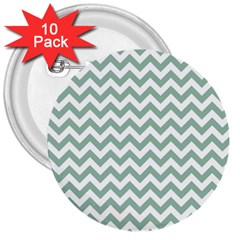 Jade Green And White Zigzag 3  Button (10 pack)