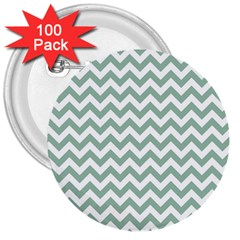 Jade Green And White Zigzag 3  Button (100 pack)