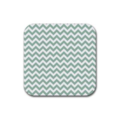 Jade Green And White Zigzag Drink Coaster (square)