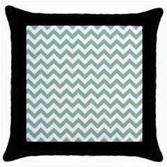 Jade Green And White Zigzag Black Throw Pillow Case