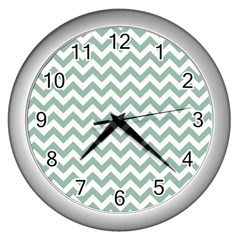 Jade Green And White Zigzag Wall Clock (Silver)