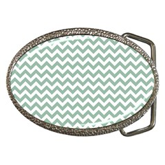 Jade Green And White Zigzag Belt Buckle (Oval)