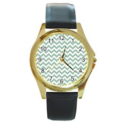 Jade Green And White Zigzag Round Leather Watch (Gold Rim)