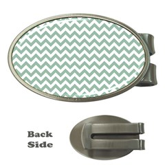 Jade Green And White Zigzag Money Clip (Oval)