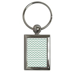 Jade Green And White Zigzag Key Chain (rectangle)