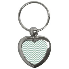 Jade Green And White Zigzag Key Chain (Heart)