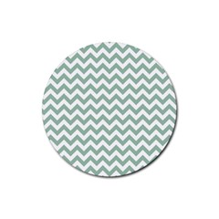 Jade Green And White Zigzag Drink Coasters 4 Pack (Round)