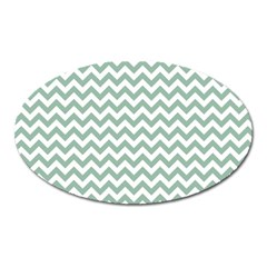 Jade Green And White Zigzag Magnet (Oval)
