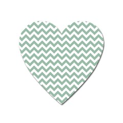 Jade Green And White Zigzag Magnet (heart)
