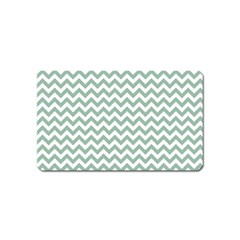 Jade Green And White Zigzag Magnet (Name Card)