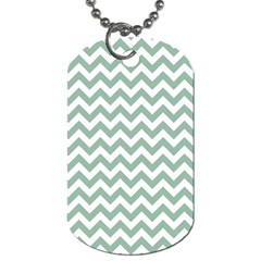Jade Green And White Zigzag Dog Tag (One Sided)