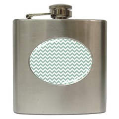 Jade Green And White Zigzag Hip Flask