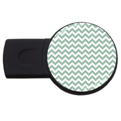 Jade Green And White Zigzag 2gb Usb Flash Drive (round)