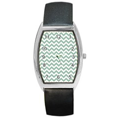 Jade Green And White Zigzag Tonneau Leather Watch