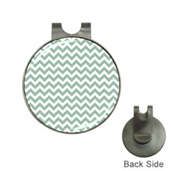Jade Green And White Zigzag Hat Clip with Golf Ball Marker