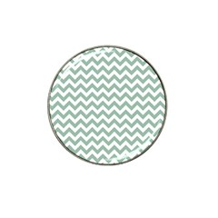 Jade Green And White Zigzag Golf Ball Marker (for Hat Clip)