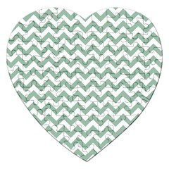 Jade Green And White Zigzag Jigsaw Puzzle (Heart)