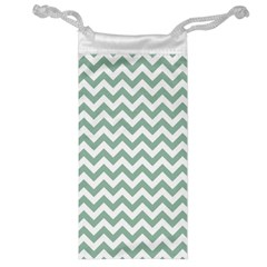Jade Green And White Zigzag Jewelry Bag