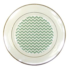 Jade Green And White Zigzag Porcelain Display Plate